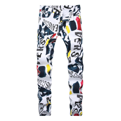 Fashion Printed High Waist Straight Pants Long Jeans  TX9233
