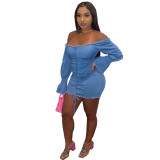 Sexy Off Shoulder Long Sleeves Backless Pleated Drawstring Mini Bodycon Denim Dress  BN096
