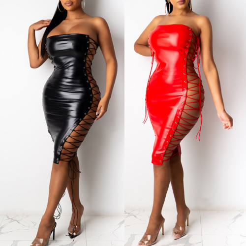 Sexy Strappy Off Shoulder Backless Mini Hollow Out Leather Dress SU2320