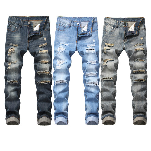 Fashion Men Hole Long Pants Straight Jeans TX305