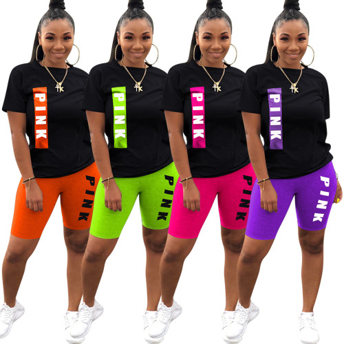 Cute Letter Printed Round Neck Short Sleeves T-Shirt With Shorts Two Pieces Sets  M6338