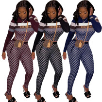 Casual Printed Round Neck Long Sleeves Tops With Trousers Two Pieces Sets  YX9238