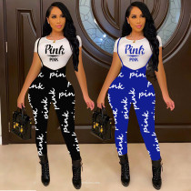 Fashion Letter Printed Round Neck Short Sleeves Tops With Trousers Two Pieces Sets  L714