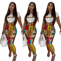 Fashion Letter Printed Round Neck Short Sleeves T-Shirt With Hole Trousers Two Pieces Sets  L713