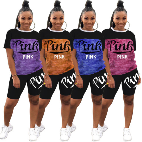 Casual Letter Printed Round Neck Short Sleeves T-Shirt With Shorts Two Pieces Sets  M6275
