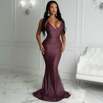 Sexy Sequins Suspenders Backless Party Long Dress  QY5039