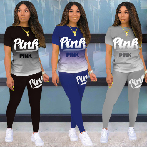 Casual Letter Printed Round Neck Short Sleeves T-Shirt With Trousers Two Pieces Sets  DL8069