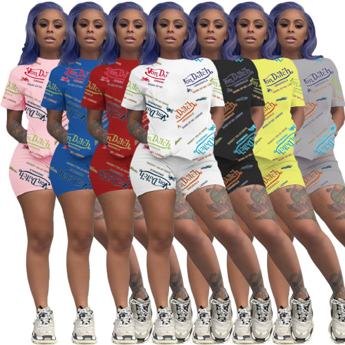 Casual Letter Printed Round Neck Short Sleeves T-Shirt With Shorts Two Pieces Sets  YX9267