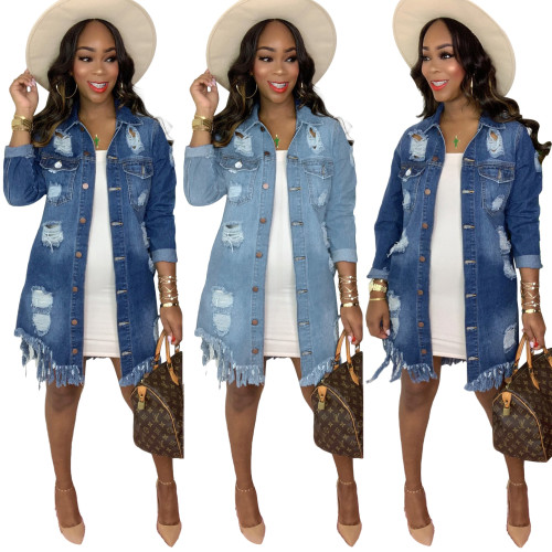 Fashion Hole Tassel Turn-Down Collar Long Sleeves Midi Denim Coat  S390000