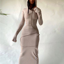 Casual Solod Color Stitching Long Sleeves Hooded Long Dress  D295583