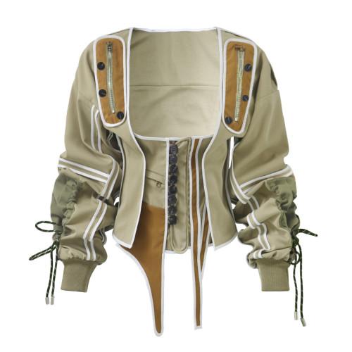 Fashion Stitching Button Square Collar Long Sleeves Mini Tops  WF183