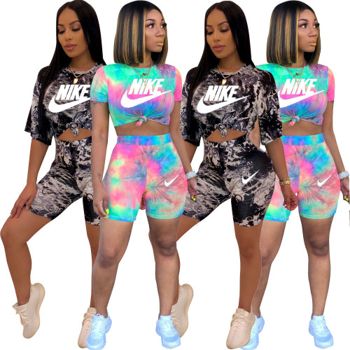 Fashion Printed Round Neck Short Sleeves T-Shirt With Shorts Two Pieces Sets  R6198