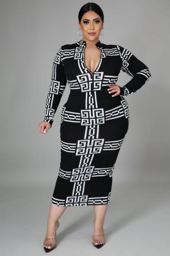 Fat lady Womens dress plus size long digital printing dress SJ5277
