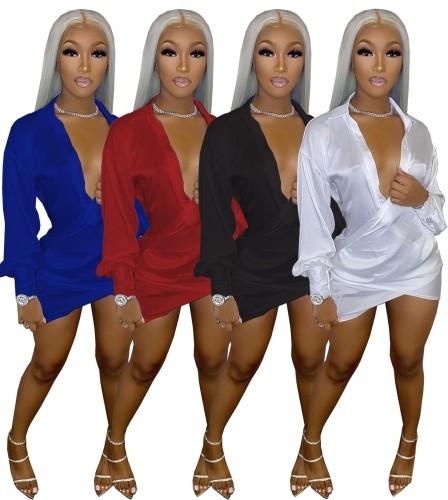 Womens Sexy Nightclub Deep V Low Cut Dress Oil Ding Dress AA5225