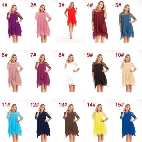 Lace stitching three-quarter sleeves mid-length knee-length chiffon dress OYW6042