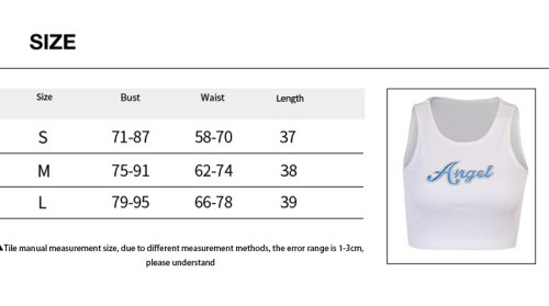Angel letter print sports tight-fitting waistless vest women OYW38070