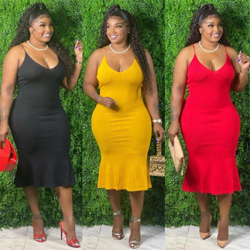 Plus Size Womens V-neck Multicolor Sling Sleeveless Mermaid Dress J6046
