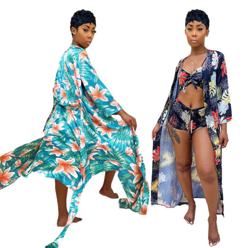 Womens casual printed beachwear swimsuit three-piece suit TRS1111
