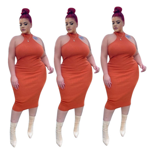 Plus size Womens dress, halter neck sleeveless, slim sexy dress J6048