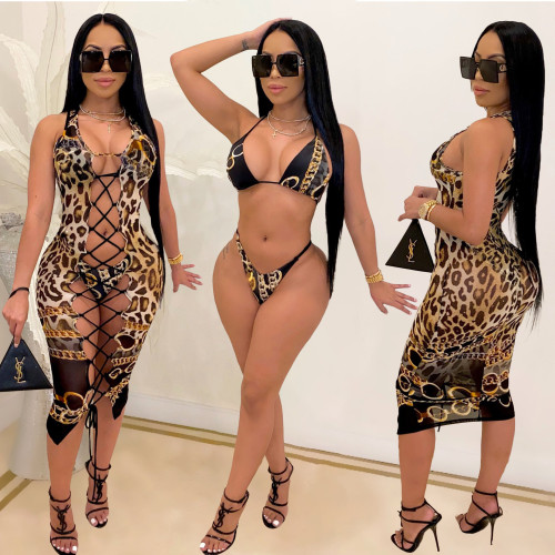 Womens sexy bikini and leopard print split swimsuit three-piece suit SQ943