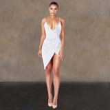 Shiny sexy pleated slim irregular nightclub dress WMZ2516