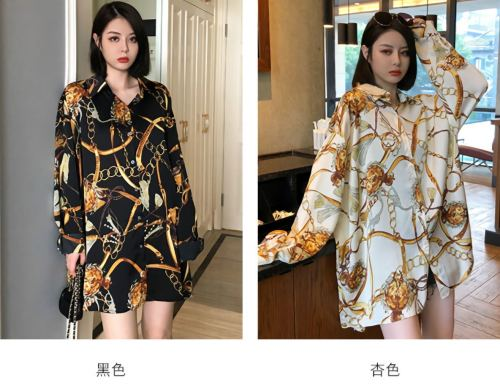 Womens new lapel multicolor big gold chain printing single-breasted shirt thin top QY5049