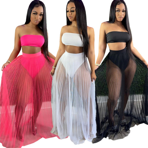 Three-piece breast-wrapped mesh skirt nightclub swimsuit style HR8162