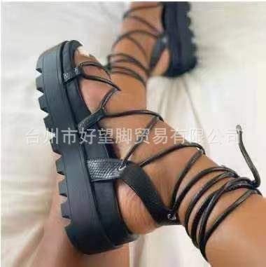 Womens shoes Roman style sponge cake sole foot ring straps increase platform sandals HWJ404