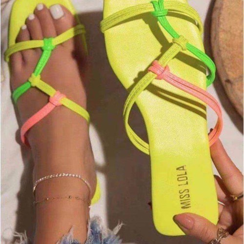 Slippers cross-sling flannel upper flip flops women low-heel lazy shoes HWJ403