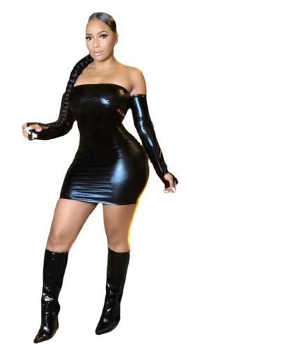 Pure color bright leather sexy dress cute R6410