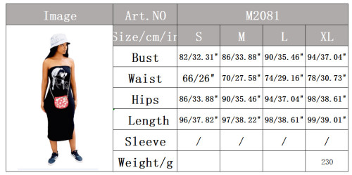 Fashion summer new sexy tube top print slit sleeveless dress MN2081
