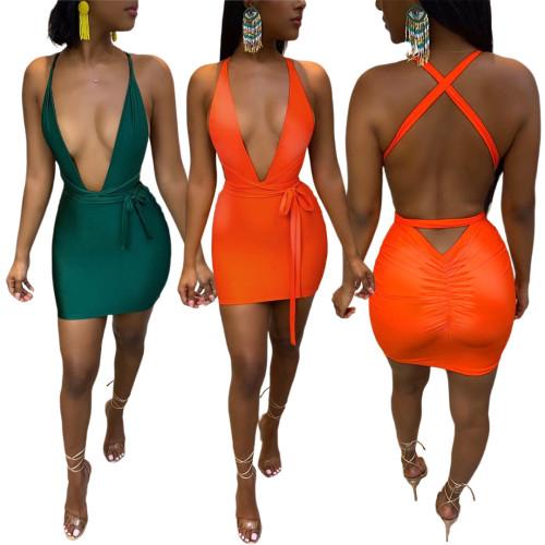 Sexy Reflective Fabric V-neck Pleated Halter Dress GL6363
