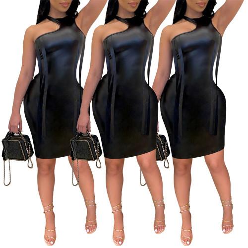 Womens ins nightclub sexy leather skirt Irregular slim-fitting streamer PU leather sense dress RM8904