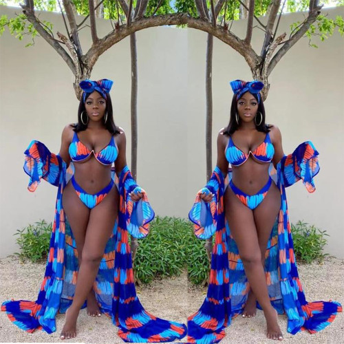 Sexy spring and summer digital printing split swimsuit three-piece suit D8428