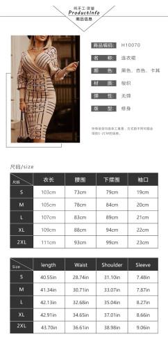 Womens Fashion Printed Long Sleeve V-Neck Waist Pack Hip Dress NS10070
