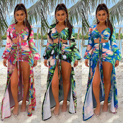 Womens Split Swimsuit Feminine Printed Long Sleeve Bikini NS10027