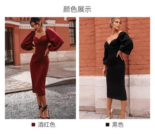 Womens elegant new style lantern sleeve stitching mid-length slim dress QL8880