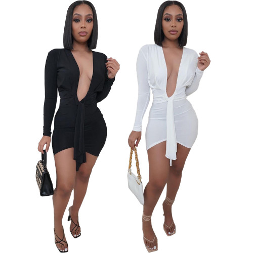 Deep V Irregular Sexy Dress LY015