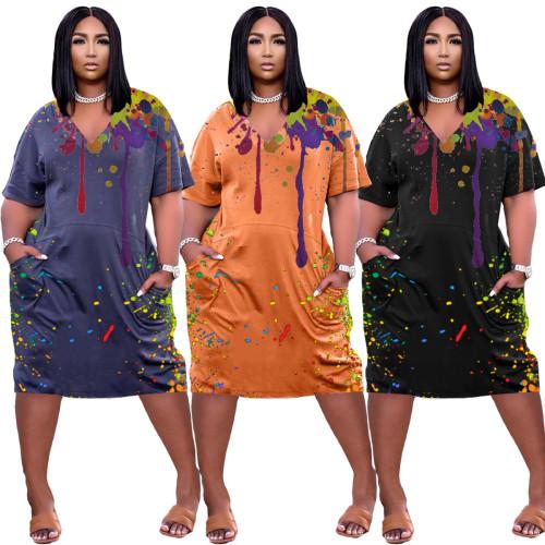 Loose ink-splattered V-neck casual dress with pocket NY8048