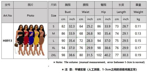 Summer solid color nightclub sexy wrapped breasts and burnt hole dress women RM8913