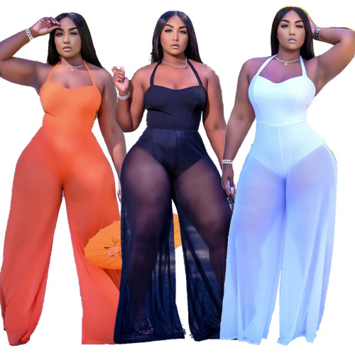 Womens sexy mesh double-layer halterneck lace-up wide-leg jumpsuit XYI9091