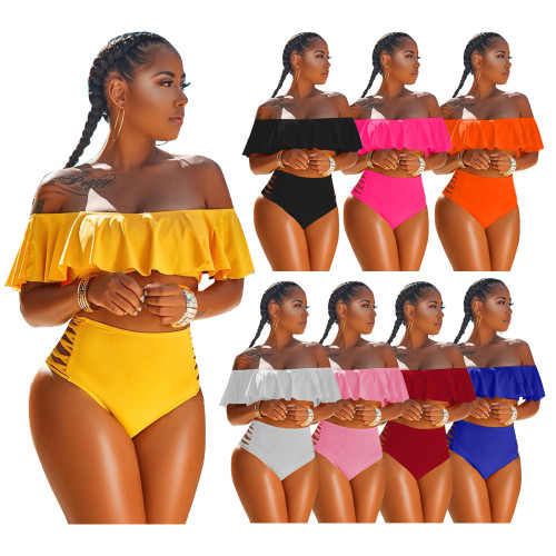 Solid color sexy swimwear Amazon Womens clothing new 2-piece swimwear women H882