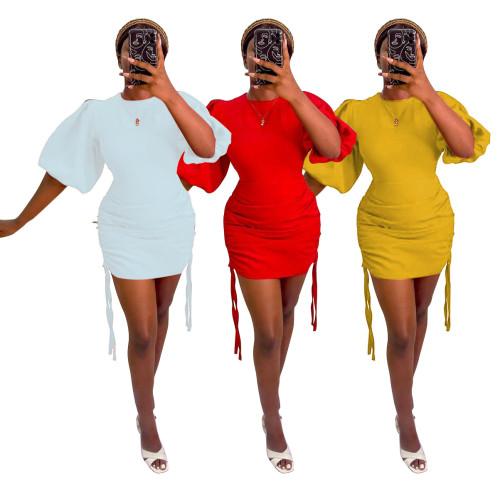 Womens Round Neck Lantern Sleeve Sexy Close-fitting Hip Dress N9276