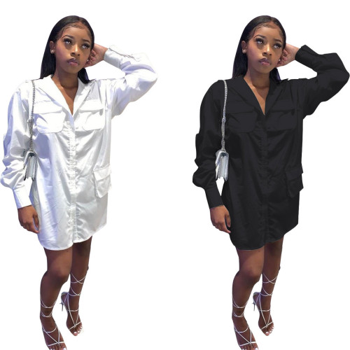 Sexy tooling pocket shirt dress C3048