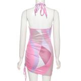 Fashion sexy cross halter neck drawstring European and American style hip dress K21D00189