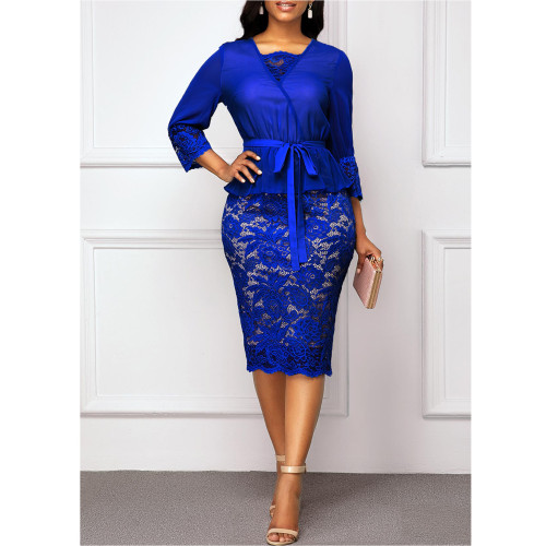 Womens lace stitching sexy V-neck slim bag hip professional pencil skirt tie HP0836