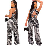 Womens Striped Printed Tube Top Wide Leg Suit CY1316