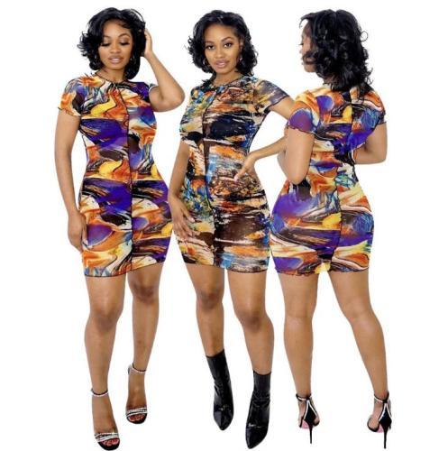 Printed mesh sexy dress nightclub LM1087