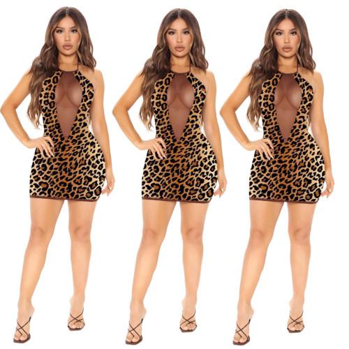 Sexy mesh stitching leopard print tie dress Q21Y800