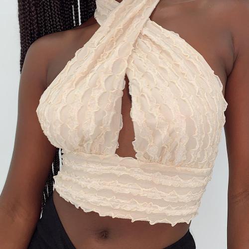 Womens color stitching halter neck wrap chest top corset sexy camisole slim waist top M21Z6W144